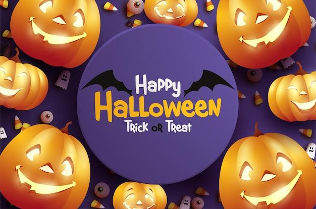 Halloweenowa uczta lub sztuczka z dyniami i duchami