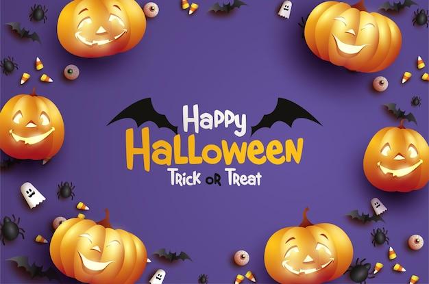 Halloweenowa uczta lub sztuczka z latającym nietoperzem ilustracją