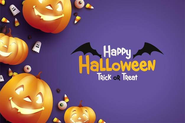 Halloweenowa uczta lub sztuczka z przerażającymi dyniami