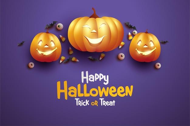 Halloweenowa uczta lub sztuczka z trzema upiornymi dyniami