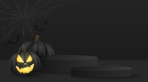 Halloweenowa wektorowa minimalna scena 3d do wyświetlania produktu. 3d wektor emocjonalna kreskówka dynia z pajęczą siecią i czarnymi nietoperzami. świąteczna platforma na podium. eps 10