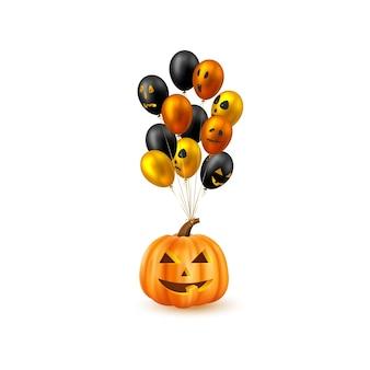 Halloweenowa wisząca dynia z błyszczącymi balonami. twarze potworów. na białym tle. ilustracja wektorowa.