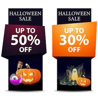 Halloweenowa wyprzedaż, rabat pionowy czarny sztandar z dyniowym jackiem