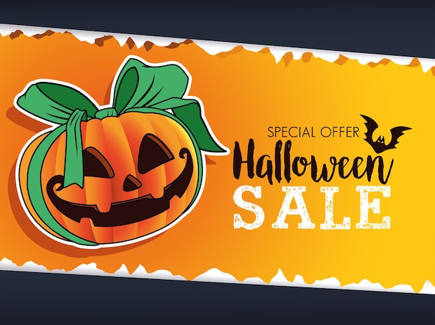 Halloweenowa wyprzedaż sezonowy plakat z dynią i wstążką