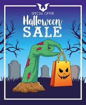 Halloweenowa wyprzedaż sezonowy plakat z ręką śmierci podnoszącą torbę na zakupy na cmentarzu