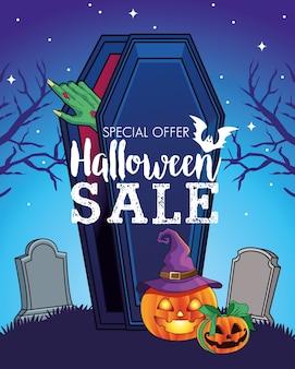 Halloweenowa wyprzedaż sezonowy plakat z ręką wychodzącą z trumny na cmentarzu