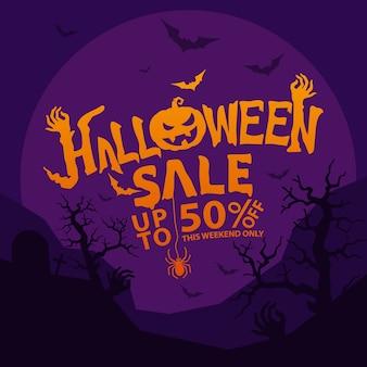 Halloweenowa wyprzedaż ze zniżką w płaskiej konstrukcji