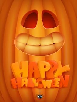Halloweenowa zaproszenie karta z dyniową kreskówki twarzą.