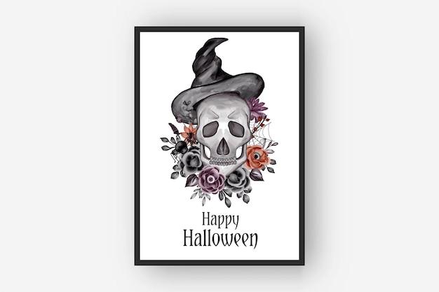 Halloweenowe aranżacje kwiatowe czaszka i kapelusz akwarela ilustracja