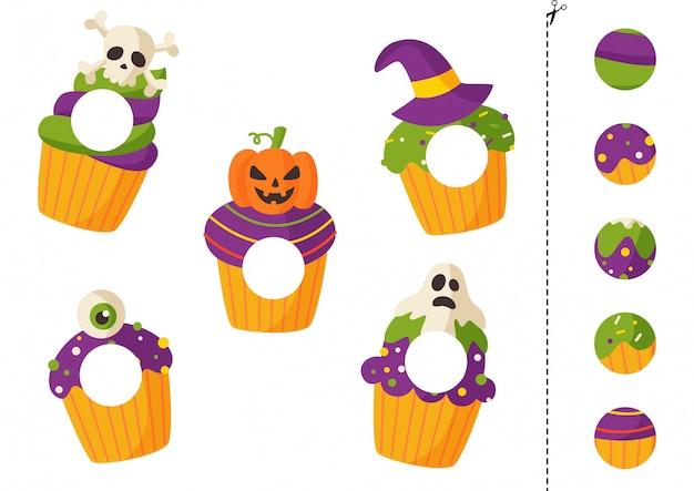 Halloweenowe babeczki wycinanie i klejenie dla dzieci.