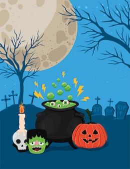 Halloweenowe bajki z dyni frankensteina i miska czarownicy przed projektem cmentarza, motyw świąteczny i przerażający