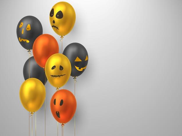 Halloweenowe balony w realistycznym stylu z twarzami potworów. elementy ozdobne do projektowania wakacyjnego, imprezy. ilustracja wektorowa.