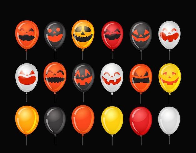 Halloweenowe balony z dyniowymi twarzami.