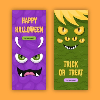 Halloweenowe banery w płaskiej konstrukcji