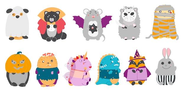 Halloweenowe cliparty z kreskówką kawaii