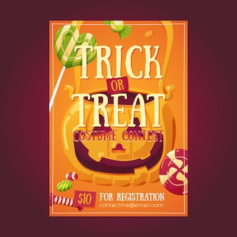 Halloweenowe cukierki plakat ulotki ilustracja zaproszenie