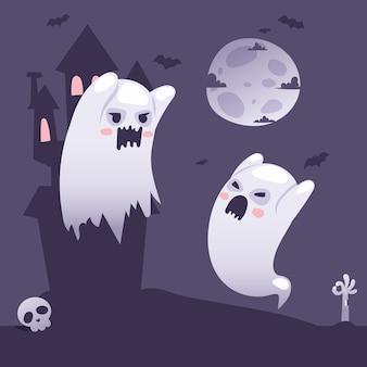 Halloweenowe duchy przed nawiedzonym starym zamkiem w stylu kreskówki w nocy
