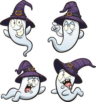 Halloweenowe duchy z fioletowymi kapeluszami czarownic