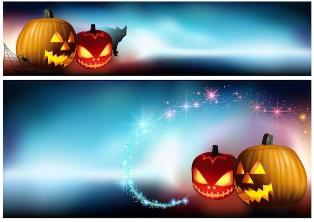 Halloweenowe dynie i upiorna mgła jako kolorowy baner i tło