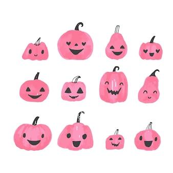 Halloweenowe dynie ładny ilustracja. zestaw bajek rzeźbionych dyni z twarzami.