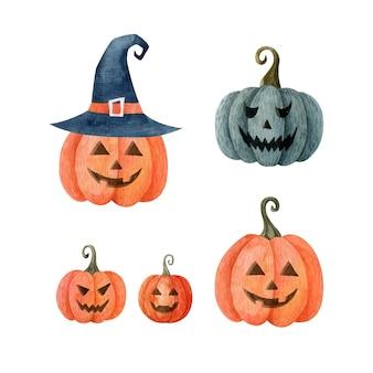 Halloweenowe dynie zestaw akwareli wakacje ręcznie rysowane kliparty jesienna ilustracja