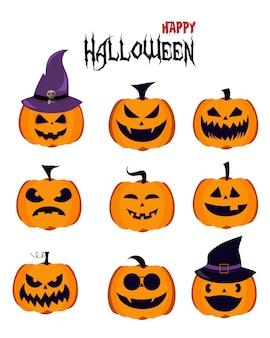 Halloweenowe dyniowe ikony z różnymi twarzami