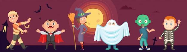 Halloweenowe dzieci. dzieci noszą przerażające kostiumy imprezowe. zombie, wampir, czarownica i zabawny duch