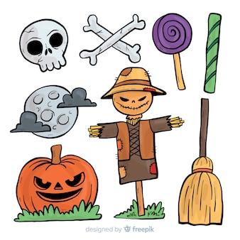 Halloweenowe elementy kolekcja w ręka rysującym stylu
