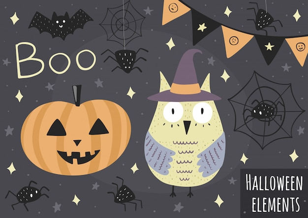 Halloweenowe elementy - sowa w kapeluszu, dyni, pająkach i innych