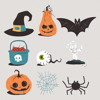 Halloweenowe elementy wektor kreskówka zestaw na białym tle.