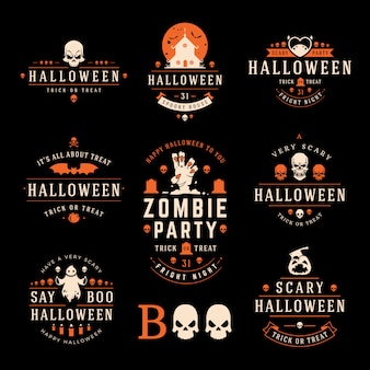 Halloweenowe etykiety i logo z przerażającymi i upiornymi symbolami