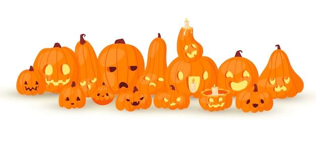 Halloweenowe horrory dyniowe głowy jack o laterns ilustracja na bielu. płycizna plakat.
