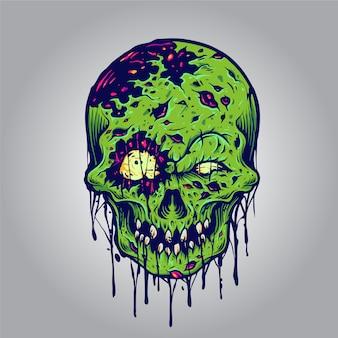 Halloweenowe ilustracje czaszki zombie przedstawiające linię odzieży i naklejki