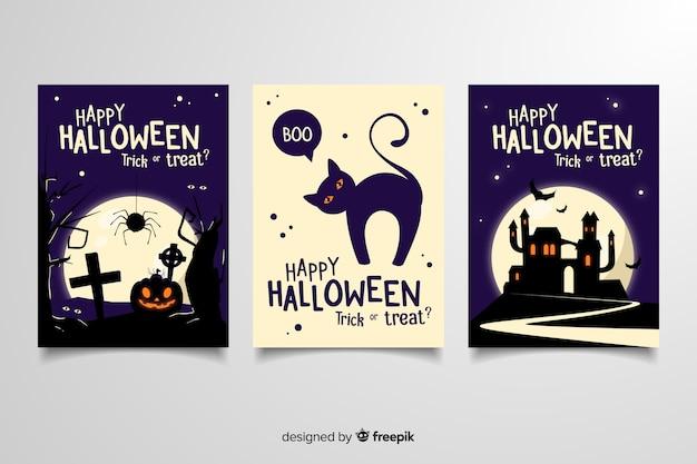 Halloweenowe kartki okolicznościowe z różnymi przerażającymi ilustracjami