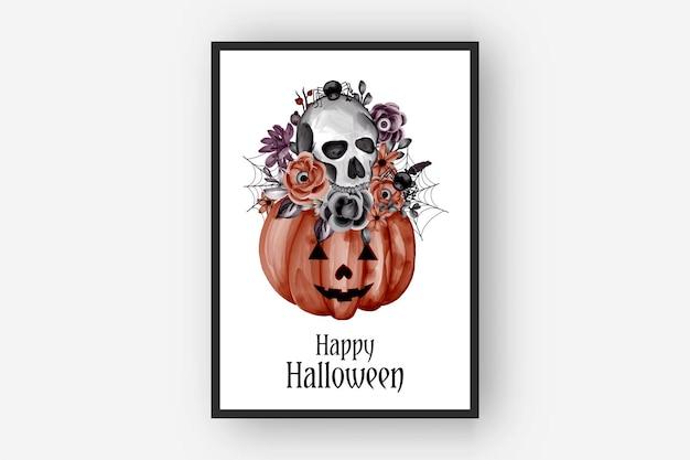 Halloweenowe kompozycje kwiatowe dyni i czaszki akwarela ilustracja