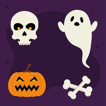 Halloweenowe kości czaszki z dyni i projekt ducha, motyw halloween.
