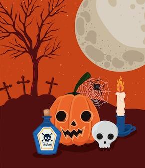 Halloweenowe kreskówki z dynią i czaszką przed projektem cmentarza, wakacje i przerażający motyw