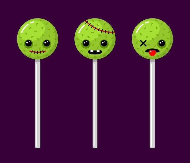 Halloweenowe lizaki zombie straszne postacie zestaw cukierków ilustracje wektorowe kreskówki