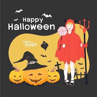 Halloweenowe małe diabelskie dzieci