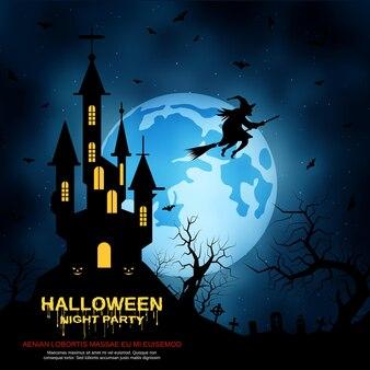 Halloweenowe niebieskie straszne tło wektor nocy