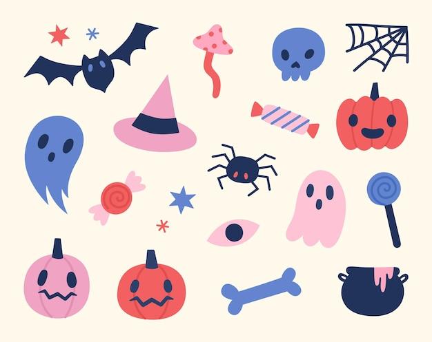 Halloweenowe obiekty zestaw ładny ręcznie rysowane elementy ilustracji wektorowych