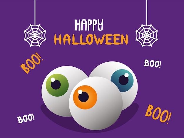 Halloweenowe oczy ludzkie z napisem i wiszącymi pajęczynami