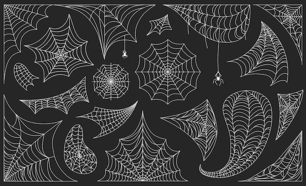 Halloweenowe pajęczyny z pająkami, czarnymi pajęczynami i obramowaniami. straszna pajęczyna rama lub dekoracja narożna, upiorny zestaw wektorów sylwetki sieci