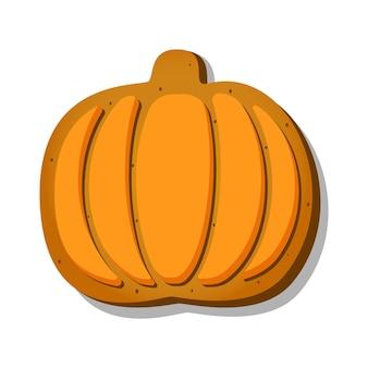 Halloweenowe pierniczki w kształcie słodkiej dyni z pomarańczowym lukrem na białym tle...