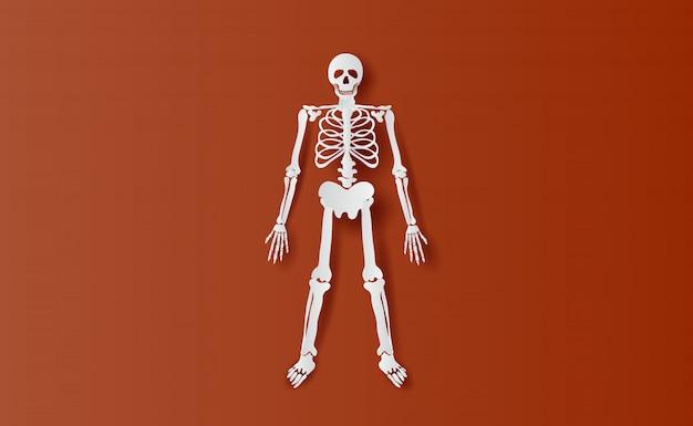 Halloweenowe postacie szkieletu prosta kość