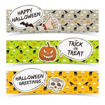 Halloweenowe poziome banery z chmurami mowy papierowa czaszka zombie ramię dyni