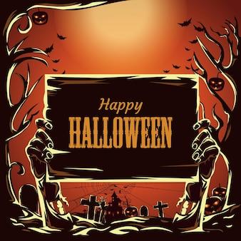 Halloweenowe ręce zombie i tło księżyca w pełni