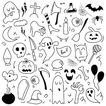 Halloweenowe rysunki zestaw elementów projektu. doodle halloween.