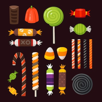 Halloweenowe słodycze ikony. kolorowe klasyczne cukierki wektorowe ozdobione elementami halloween.