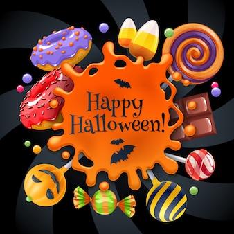 Halloweenowe słodycze kolorowe tło strony